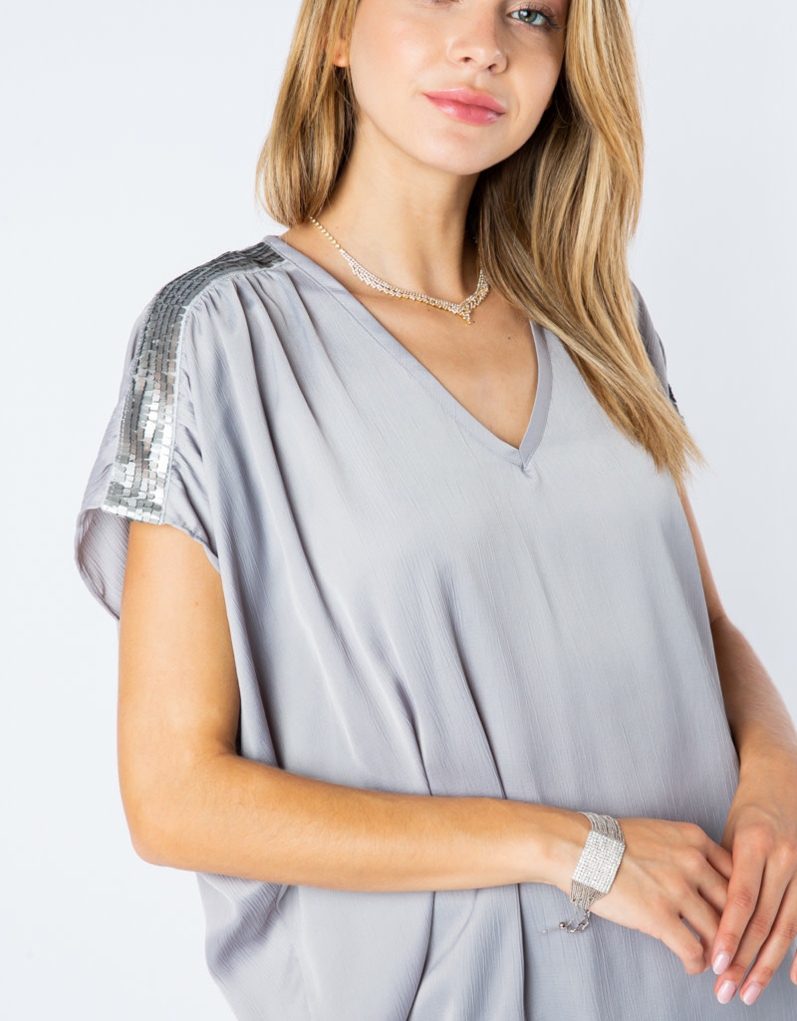 Vocal 6171 Satin Vneck Bejeweled Shoulder Blouse