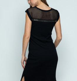6167 Black Mesh Stud Dress