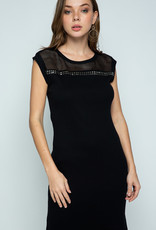 Vocal 6167 Black Mesh Stud Dress