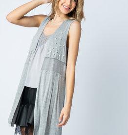 6166 Grey Mesh Vest wPearls