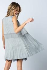 Vocal Grey Mesh Vest w/Pearl Embellishment