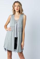 Vocal 6166 Grey Mesh Vest wPearls