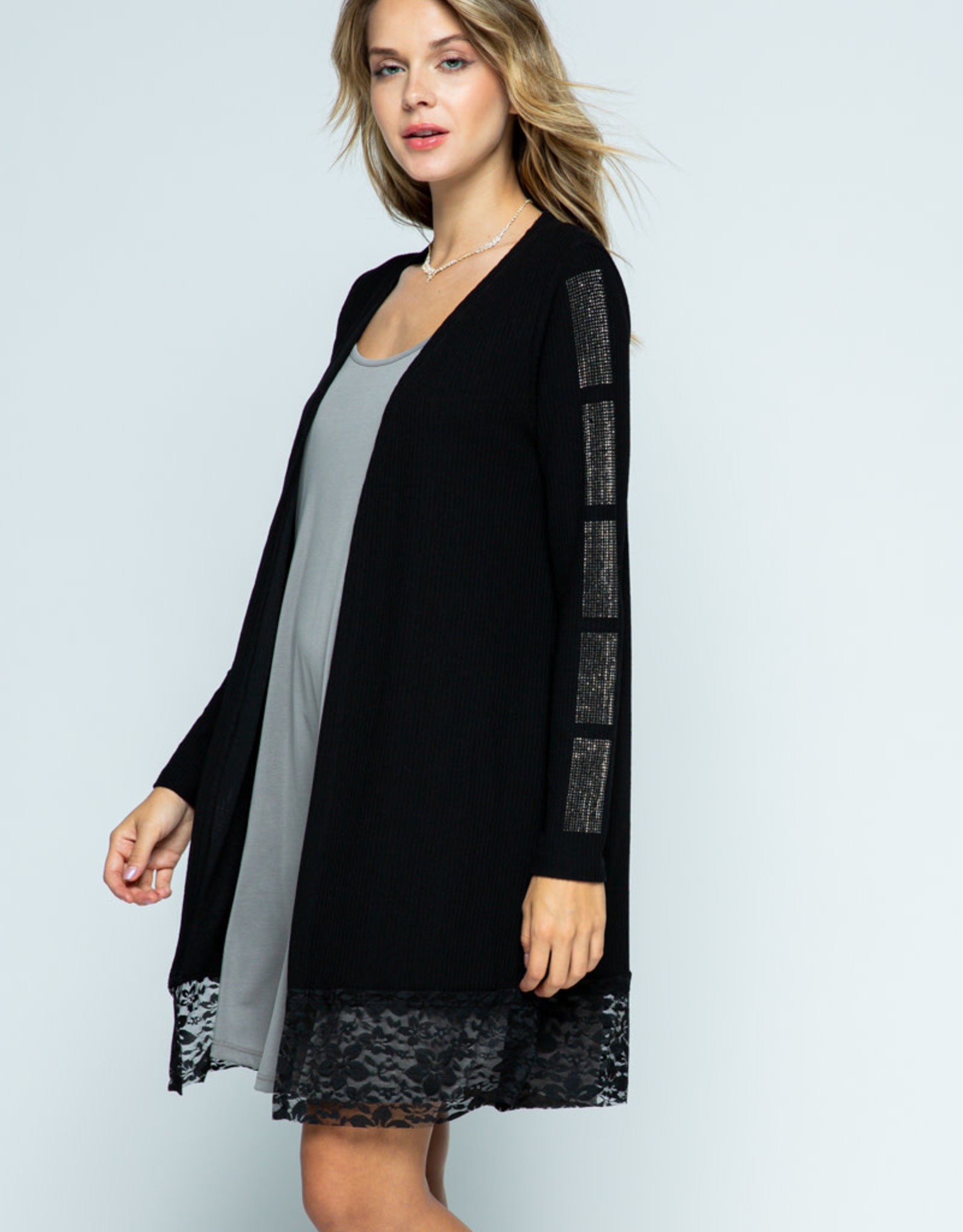 6107 Long Cardi wStones on Slv