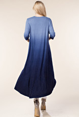 Long Stone Embellished Navy Ombre Cardigan Duster