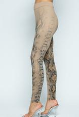 Vocal 6106 Snake Print Leggings Tan