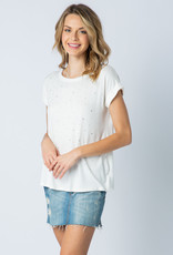 6105 Cuffed SS Top with stones