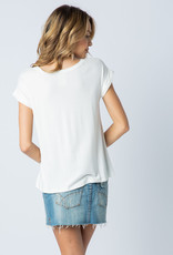 Vocal 6105 Cuffed SS Top with stones