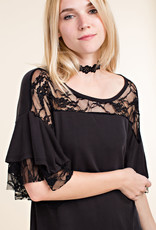 6100 Ruffled Lace SS Blk