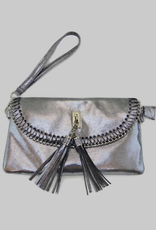 6178 Metallic Silver Tassel Bag
