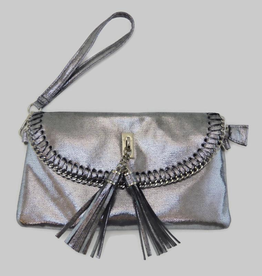 6178 Metallic Silver Tassel Bag