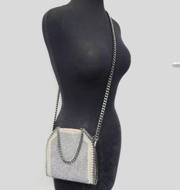 6179 Gray Stone Embellished Chain Bag