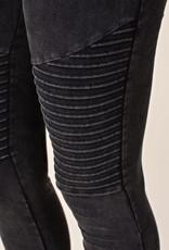 6153 Distressed Charcoal Moto Leggings