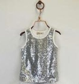 Doe a Dear Silver Sequin Tank