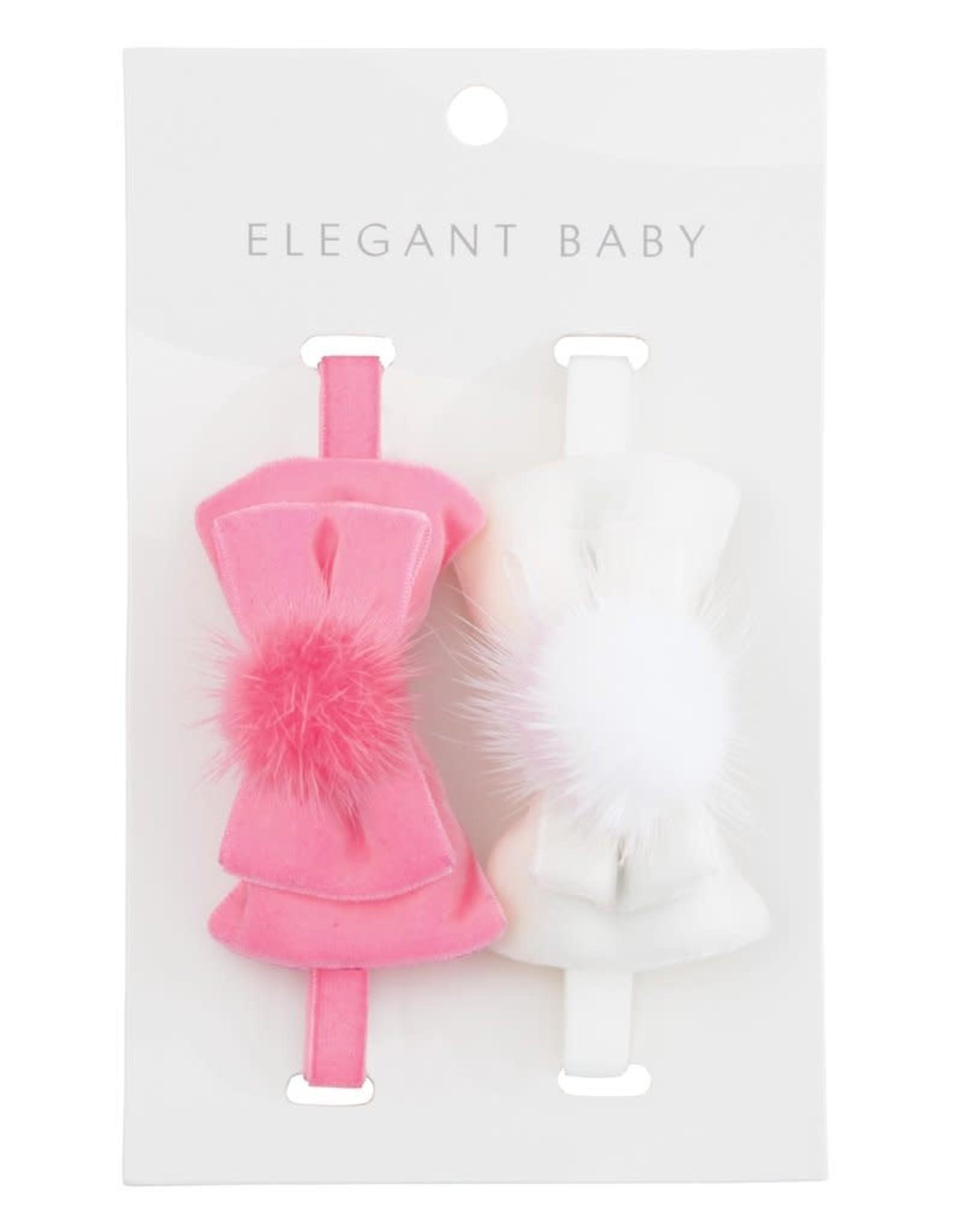 Elegant Baby Velvet Bow Wht Pnk