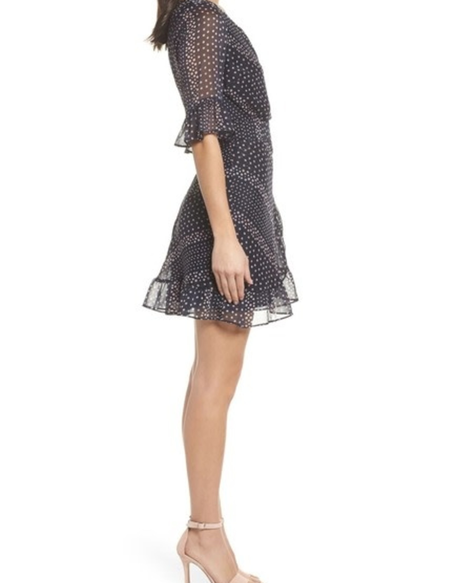 BB Dakota Striped Polka Dot Ruffle Dress