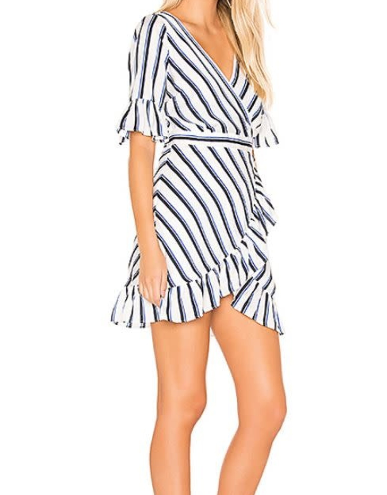 BB Dakota Wht/Blue Striped Ruffle Dress