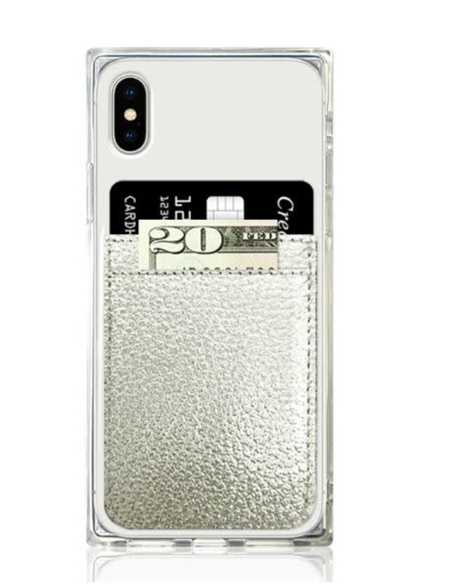 iDecoz Phone Pocket Faux Leather SILVER