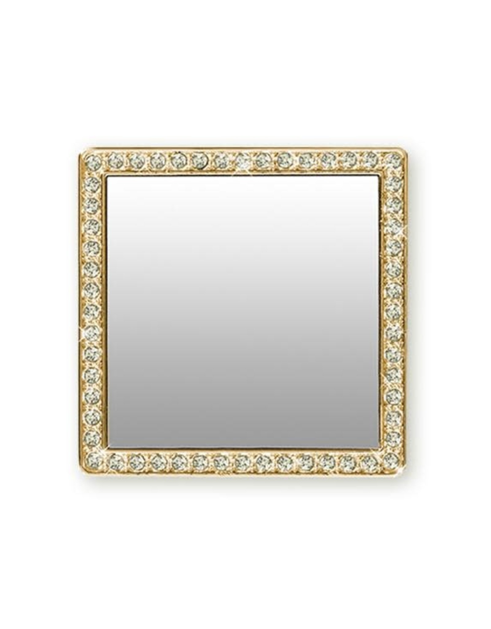 iDecoz Square Tech Mirror - Gold/Clear Crystals