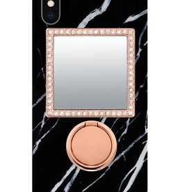 iDecoz Square Tech Mirror - Rose Gold/Clear Crystals