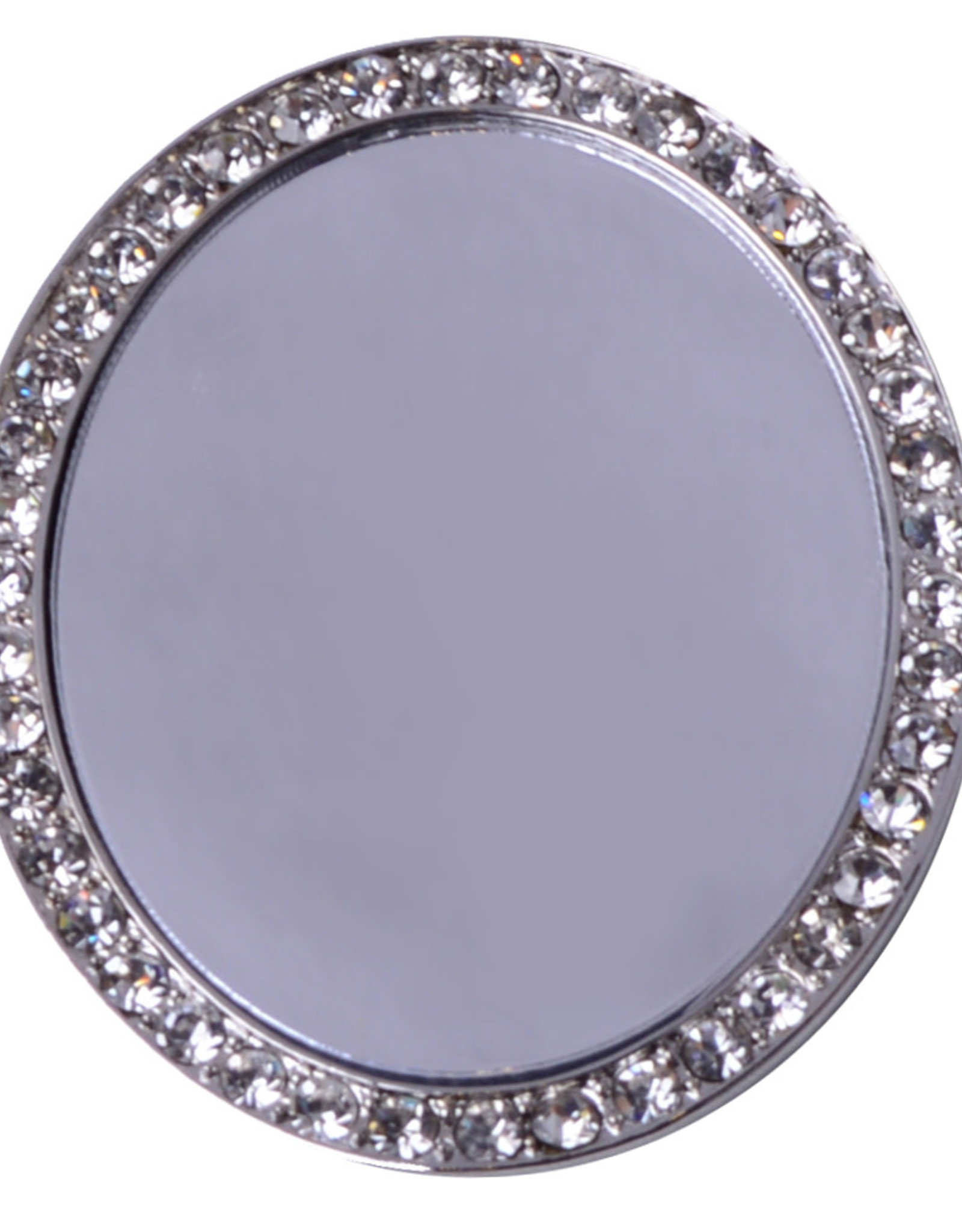 iDecoz Oval Tech Mirror - Silver/Clear Crystals