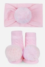 Waddle PomPom Headband Lt Pink Set