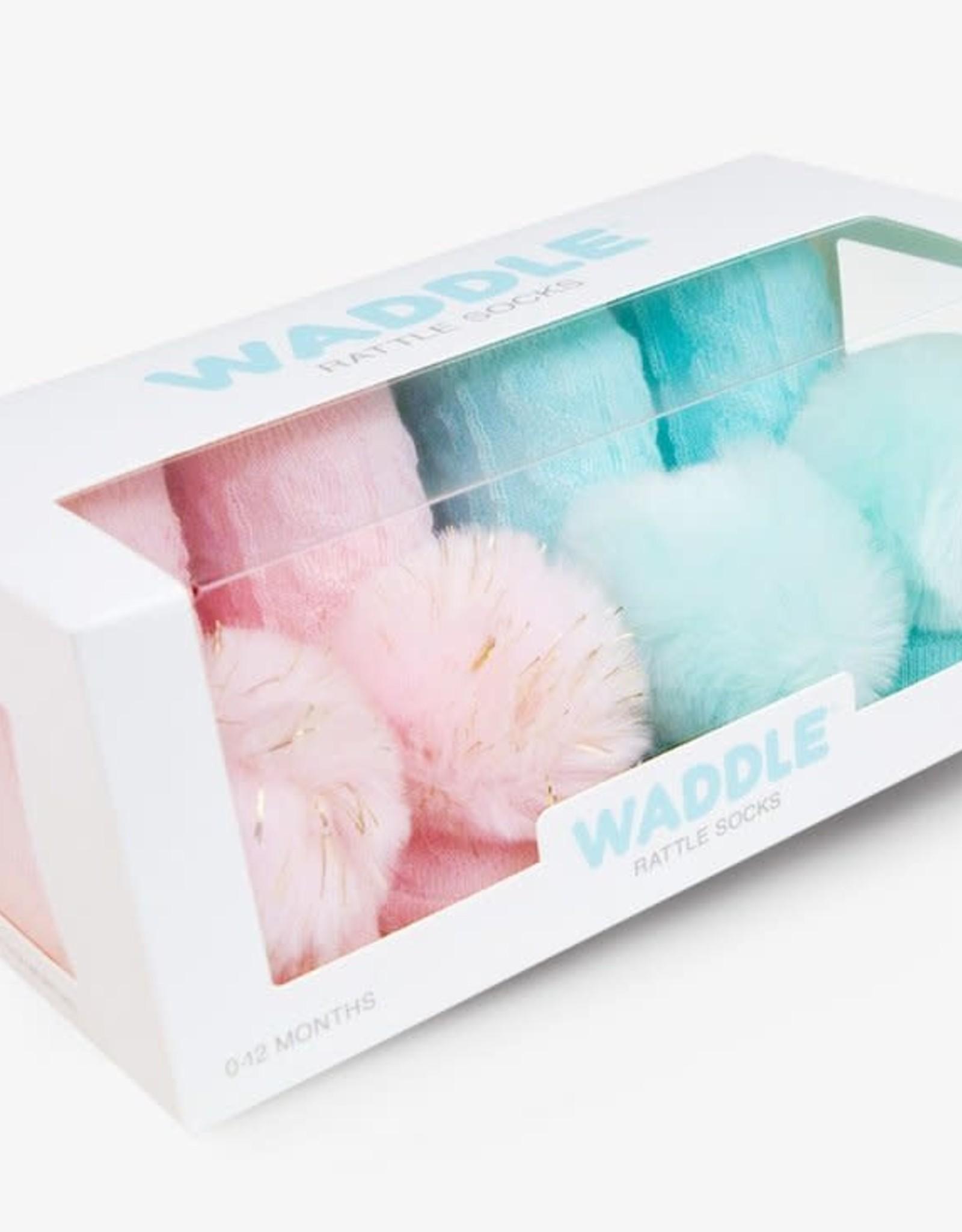 Waddle PomPom Rattle Socks Lt Pink/Aqua
