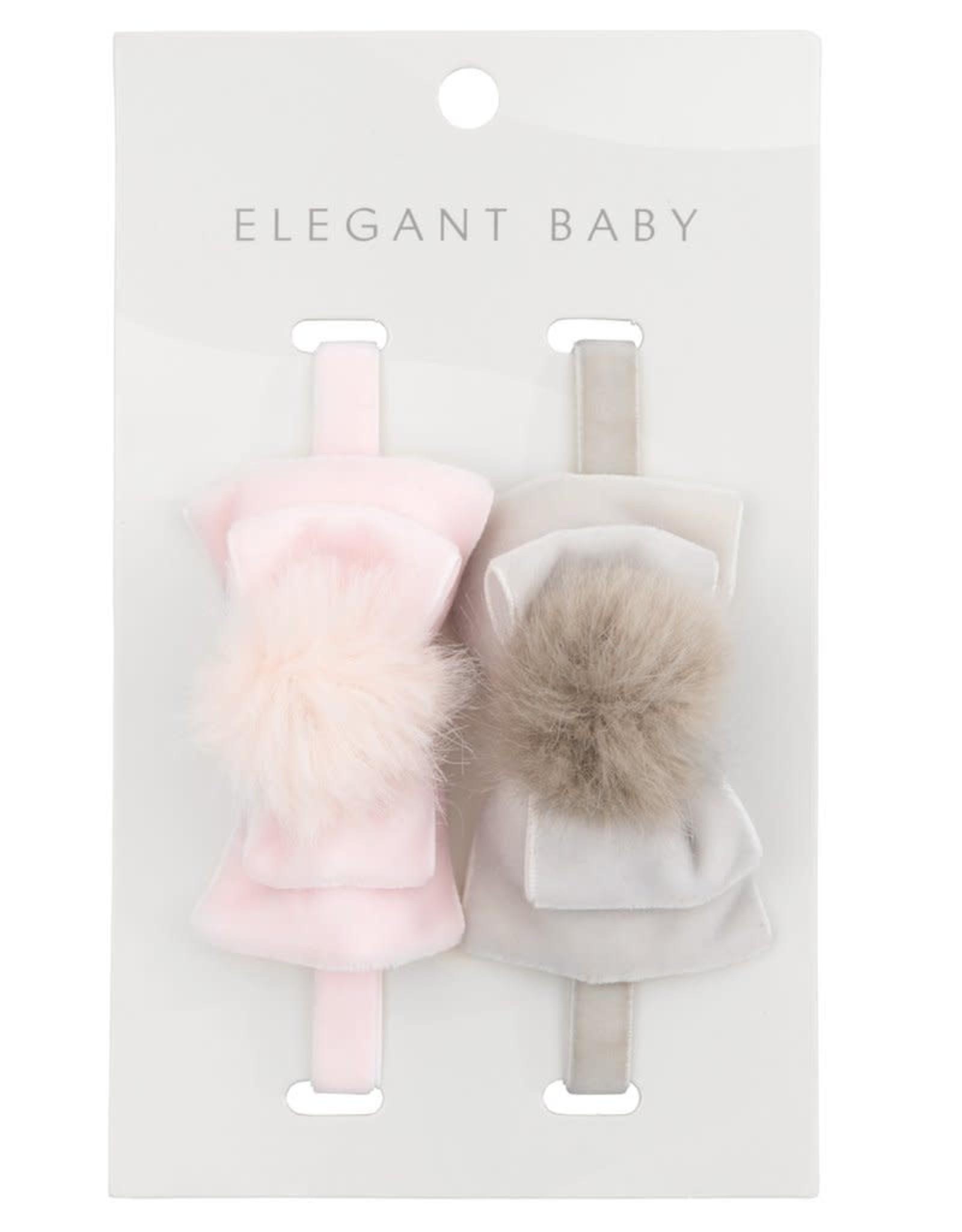 Elegant Baby Velvet Bow Gry Pnk