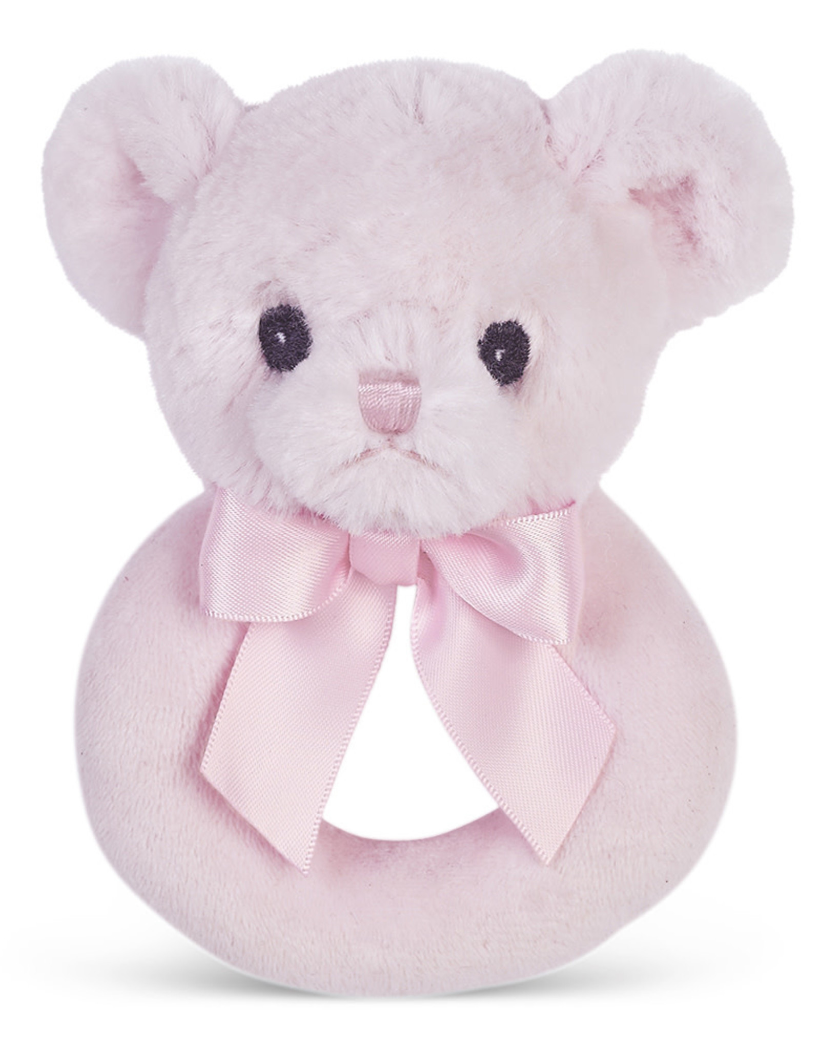 Bearington Huggie Bear Pink Rattle