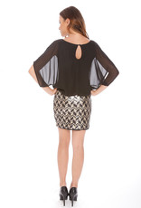Alexia Admor Black Chiffon and Chevron Sequin Dress