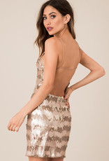 Black Swan Champagne Sequins Open Back