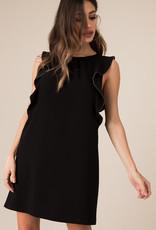 Black Swan Statement Ruffle Sleeve Dress