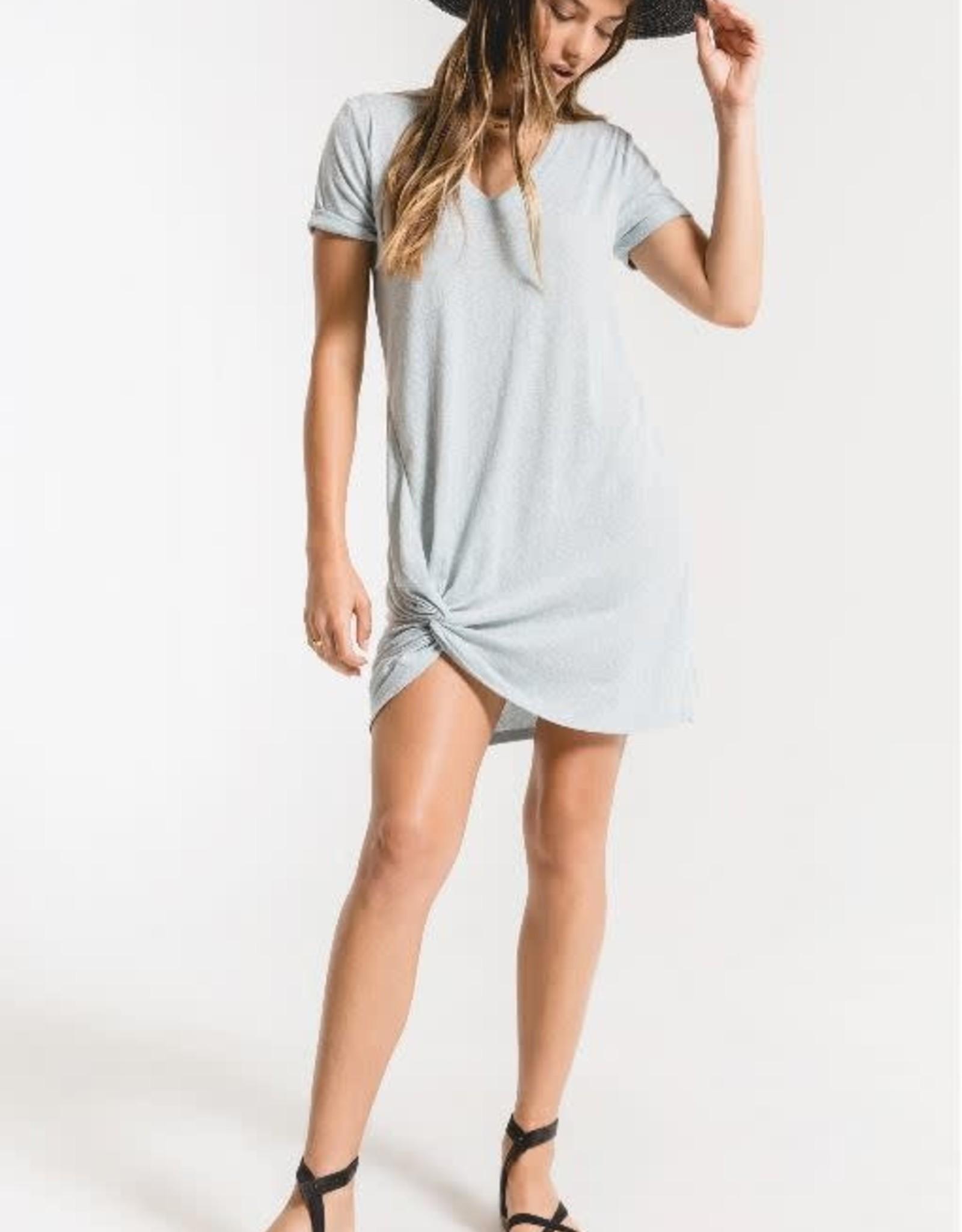 Z Supply 6021 Triblend Side Knot Dress H Grey