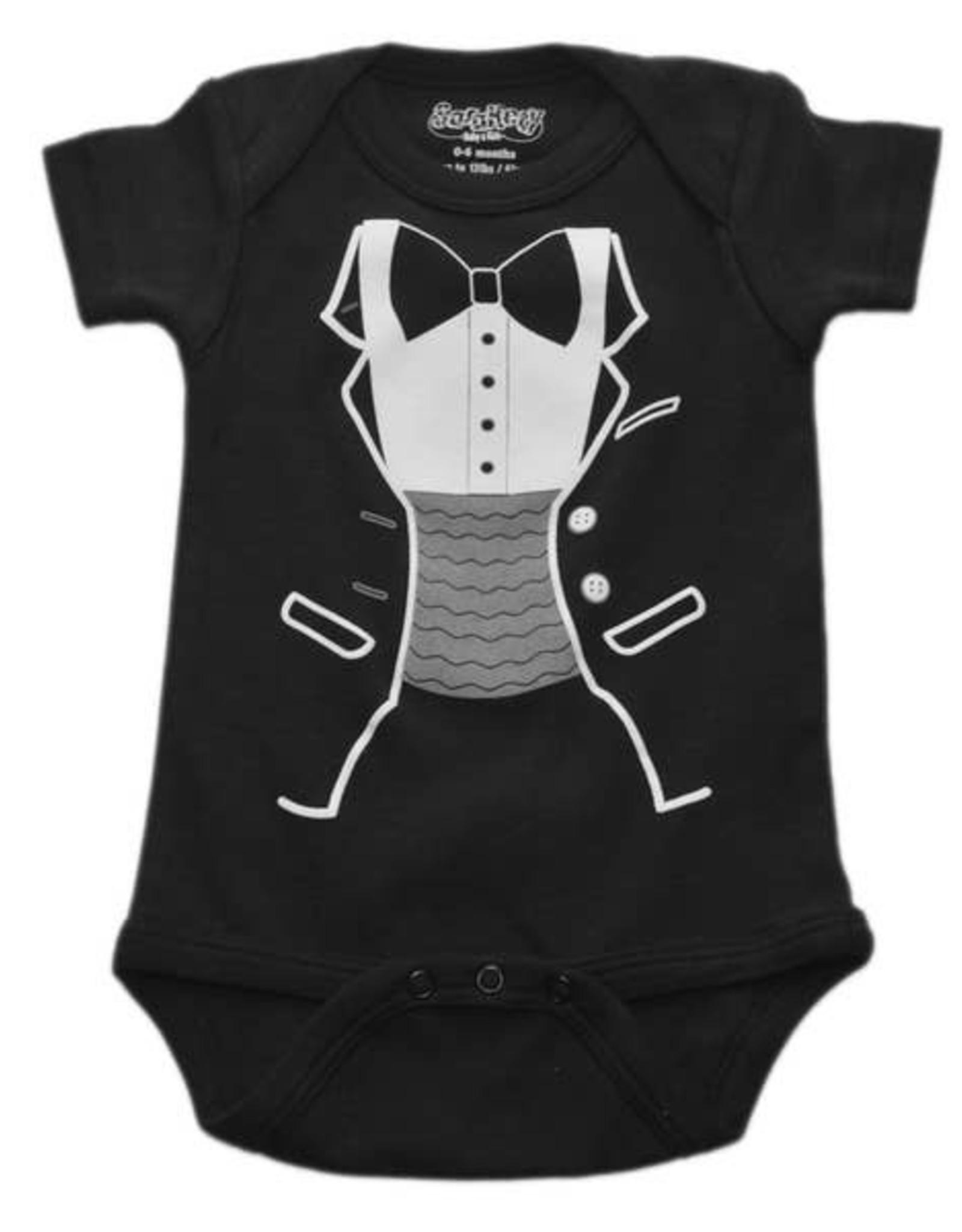 Sara Kety Onesie Tiny Tux 6-12 Months Black