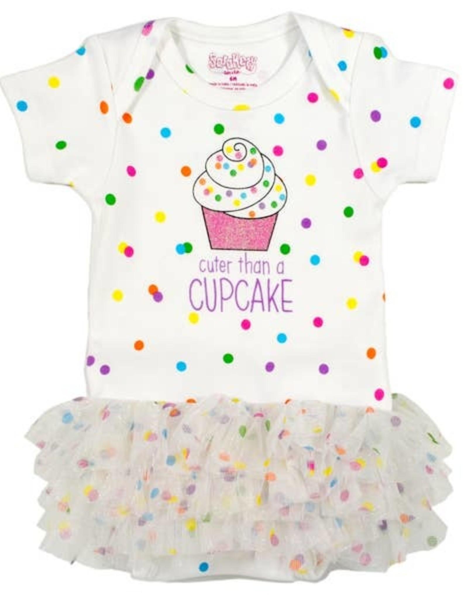 Sara Kety Onesie/Tutu Cupcake 6 Months Wht
