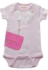 Sara Kety Onesie Pink Bag w/Pearls 12-18 Months Pink