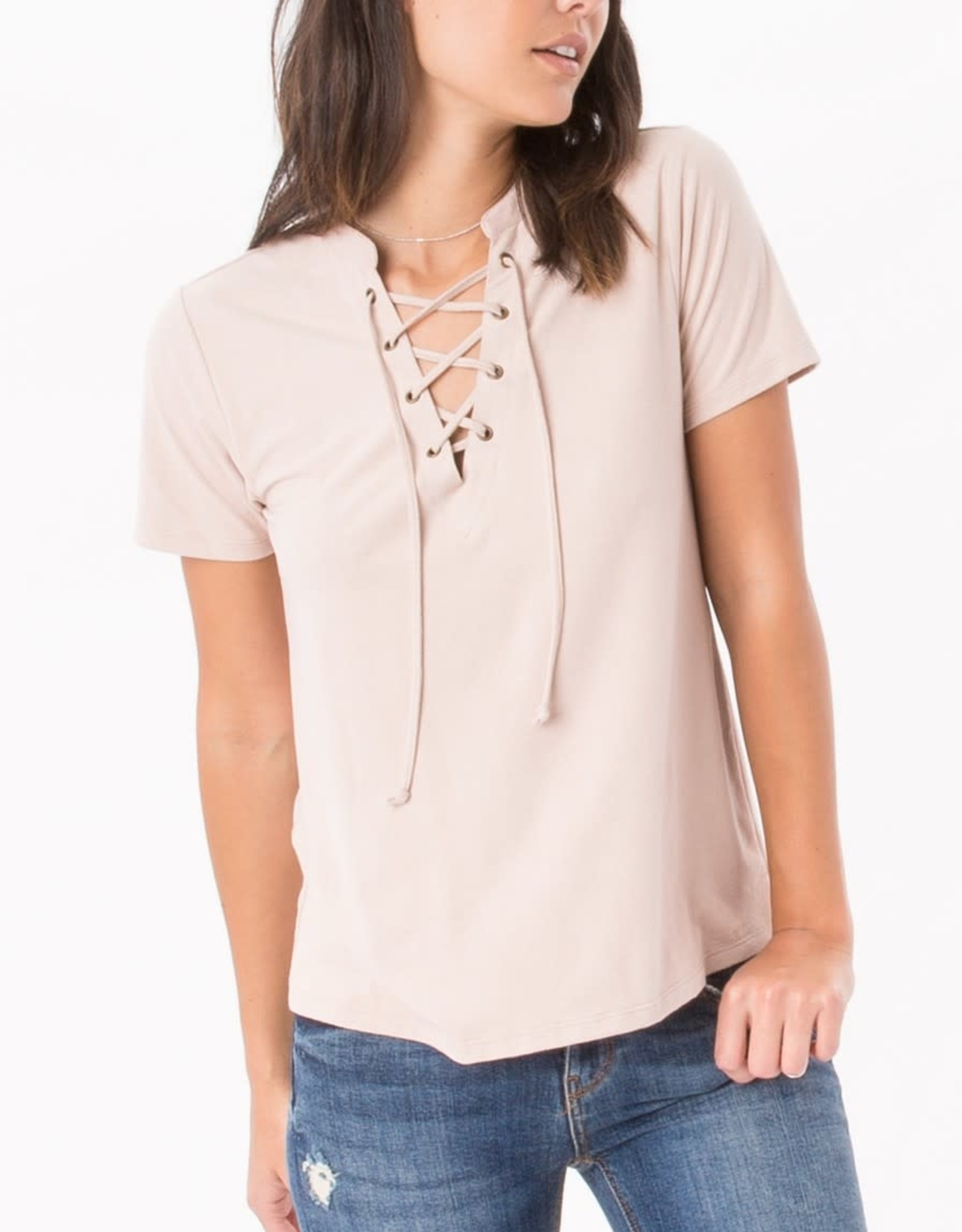 Z Supply Blush Faux Suede Lace Up