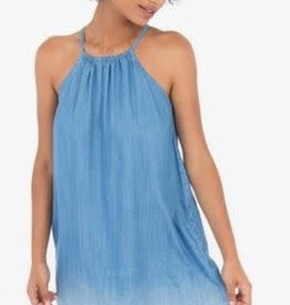 Rag Poets Chambray Blue Raw Edge Dress