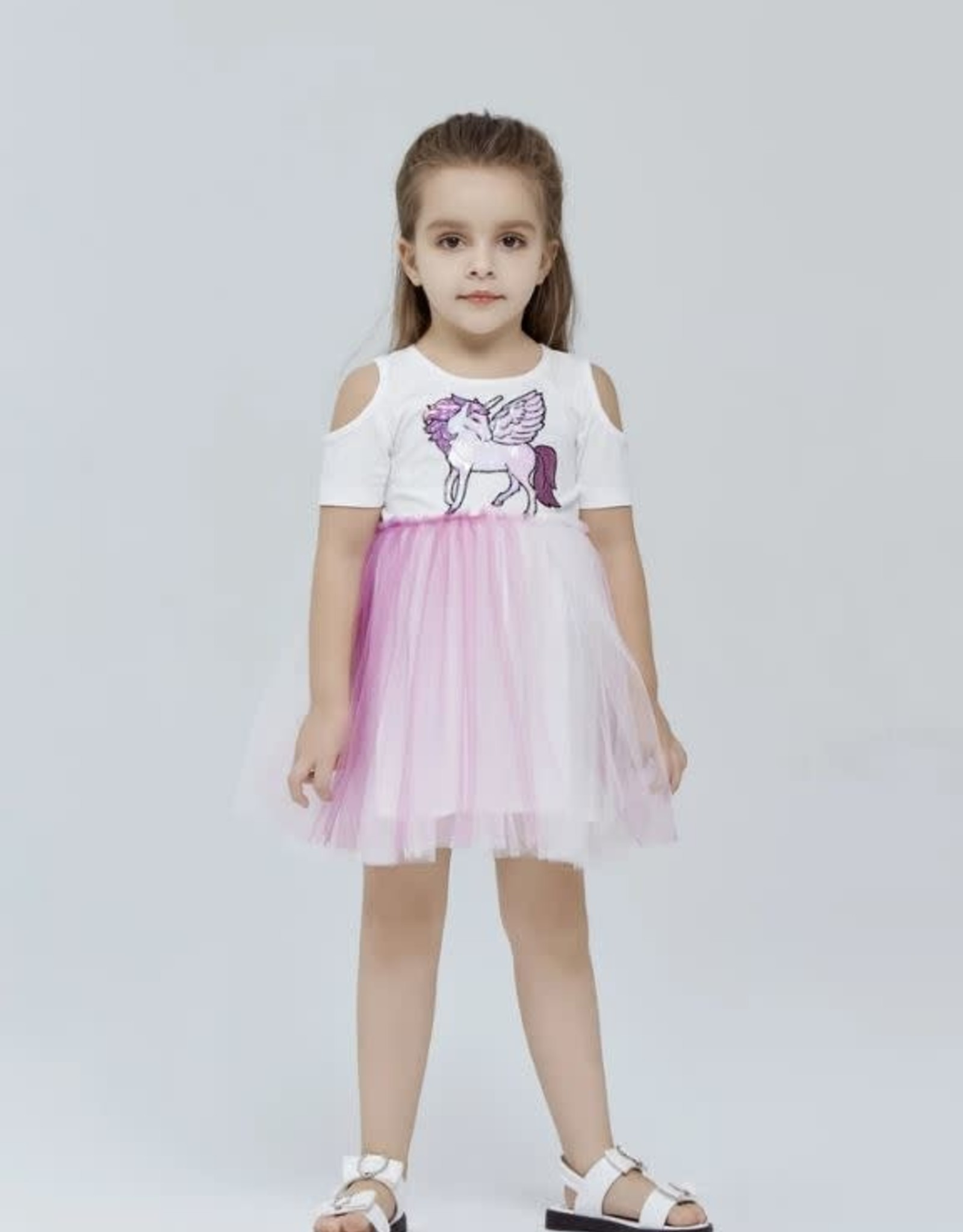 Doe a Dear Unicorn Cold Shoulder Dress w/Ombre Tulle