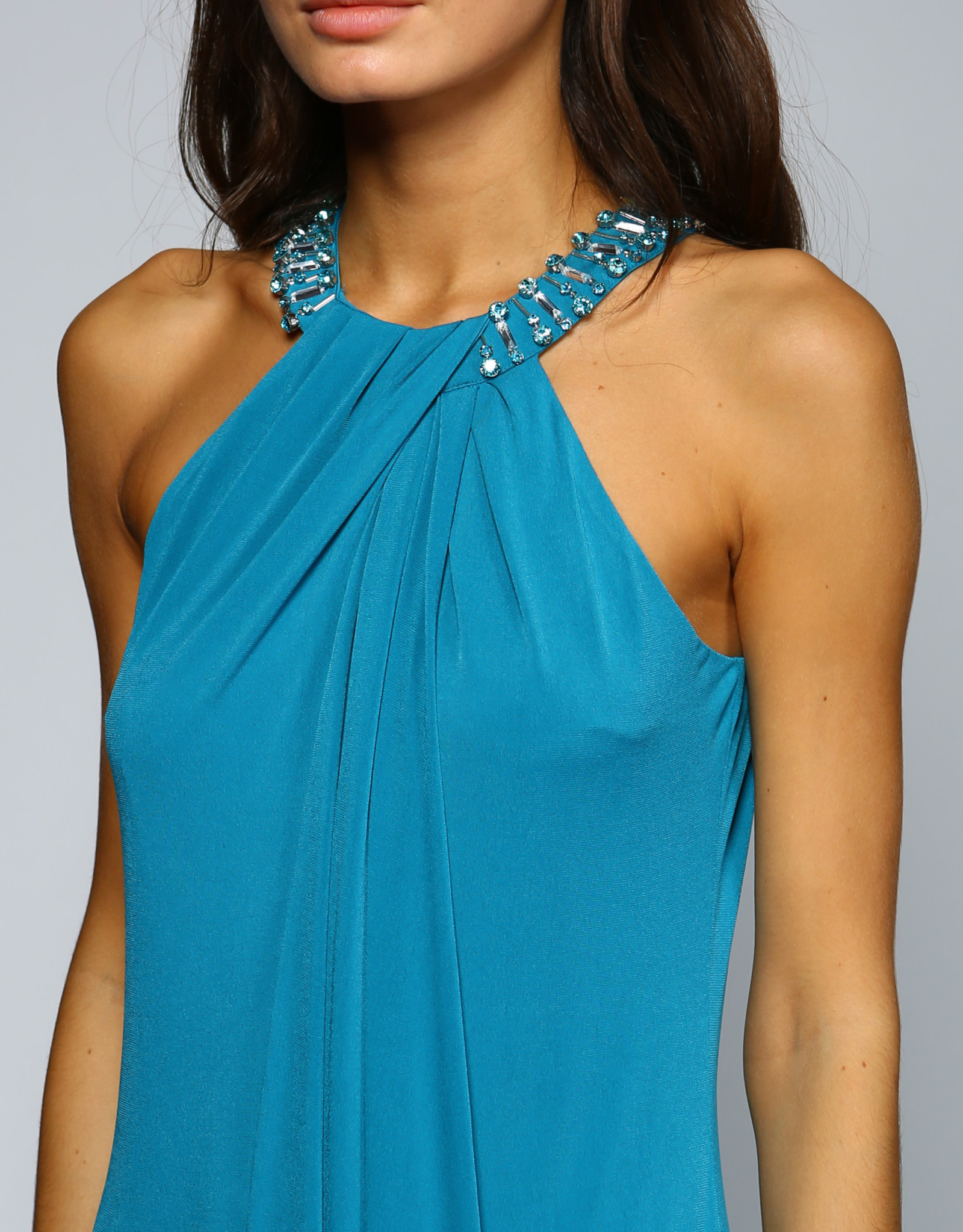 Minuet Beaded Neck Teal Gown