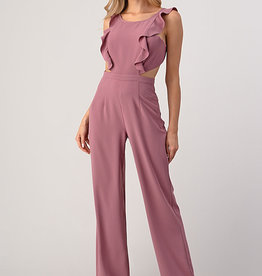 Minuet Blush Ruffle Cut-Out Jumpsuit