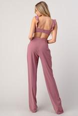 Minuet Blush Ruffle Cut-Out Jumpsuit
