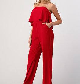 Minuet Statement Ruffle Jumpsuit Red