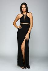 Minuet Black Open Back Mesh Detail Gown