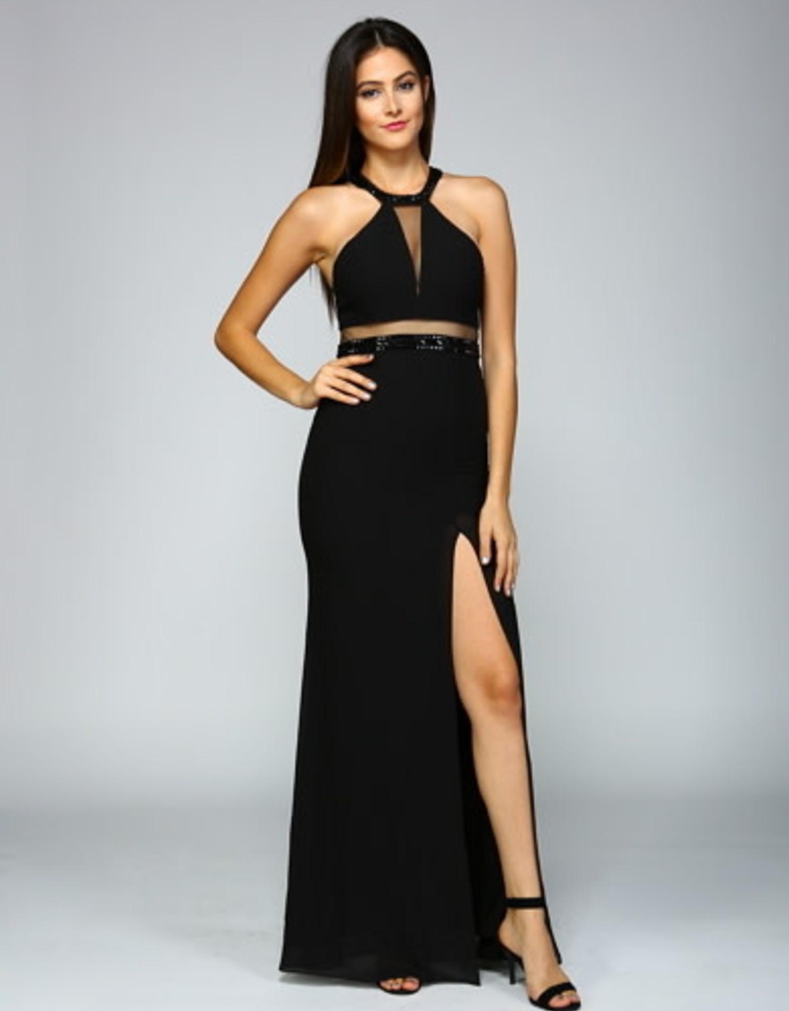 Black Open Back Mesh Detail Gown