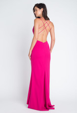 Minuet Deep V Spaghetti Strap Cross back Fuchsia Gown