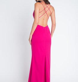 Deep V Spaghetti Strap Cross back Fuchsia Gown