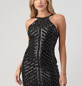 Minuet Beaded Bodycon Mini Dress