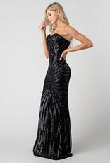 Minuet Strapless Sequin Gown