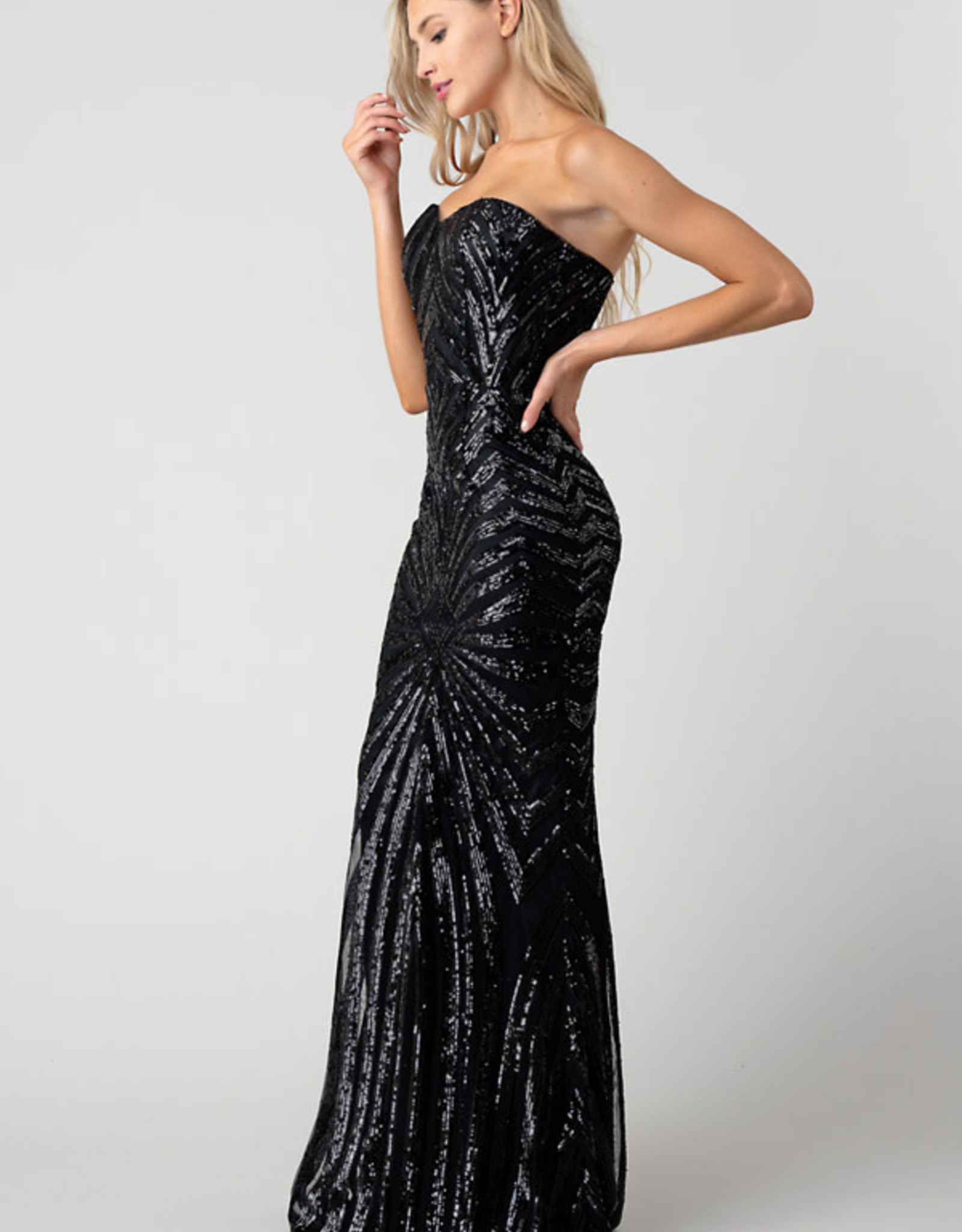 Minuet Strapless Sequin Gown