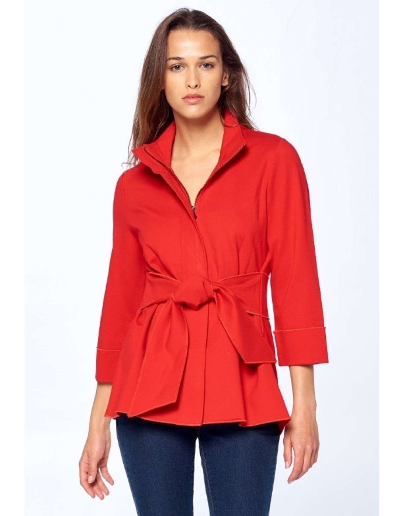 Luii Zipper Tie-Front Jacket Red